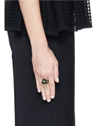 Iosselliani | Black Floral Stud Zircon Pavé Stacked Ring | Lyst