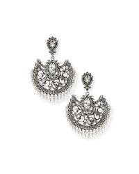 Jose & Maria Barrera - Metallic Beaded Scroll Fan Chandelier Earrings - Lyst