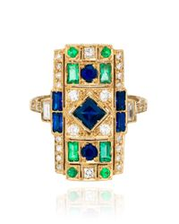 Sabine G | Blue 18Kt White Gold Diamond And Sapphire Rectangle Ring | Lyst