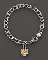 Judith Ripka - Metallic Sterling Silver Single Heart Canary Crystal Charm Bracelet - Lyst