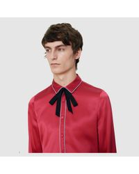 Gucci - Red Crãªpe Satin Shirt With Piping for Men - Lyst