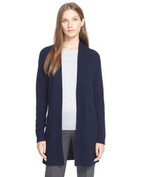Theory Blue 'analiese' Open Front Cashmere Cardigan