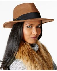 Nine West - Natural Felt Flat Brim Fedora - Lyst