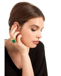 Trina Turk | Green Lg Square Stone With Pave | Lyst
