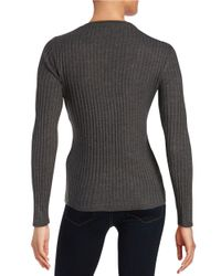 Ivanka Trump | Gray Ribbed Crew Sweater | Lyst