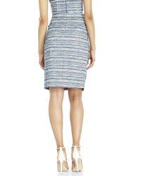 Badgley Mischka - Blue Belted Tweed Skirt - Lyst