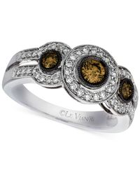 Le Vian | Brown Chocolate And White Diamond Three-stone Ring (3/4 Ct. T.w.) In 14k White Gold | Lyst