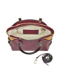 Alviero Martini 1A Classe Purple Small Cover Geo Classic Wine Leather Shoulder Bag