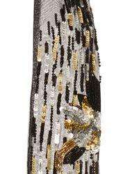 Rodarte - Black, Silver And Gold Hand Beaded Chiffon Scarf - Lyst