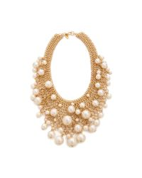 Kenneth Jay Lane | Metallic Cascading Faux Pearl Necklace Pearl | Lyst