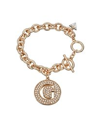 Guess | White G Girl Large G Disc Rose Gold Plated Bracelet | Lyst
