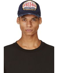 DSquared² - Blue Navy Distressed Prison Cap for Men - Lyst