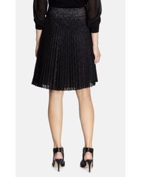 Karen Millen - Black Pleated Lace Skirt - Lyst