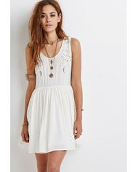 Forever 21 | Natural Embroidered Cutout Smock Dress | Lyst