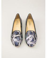 Chiara Ferragni Blue Glittered Snake Slippers