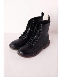 Missguided Lace Up Rubber Sole Boots Matte Black
