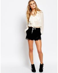 Band Of Gypsies | Natural Ruffle Front Blouse | Lyst