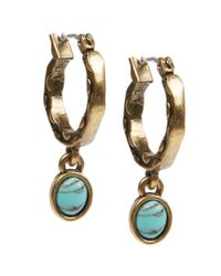 Lucky Brand - Blue Goldtone Mini Turquoise Stone Hoop Earrings - Lyst