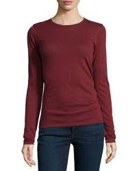 Neiman Marcus - Black Cotton/cashmere Long-sleeve Crewneck Top - Lyst
