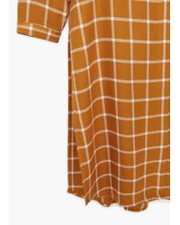 Mango - Orange Chest-pocket Check Shirt - Lyst