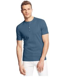 Vince Camuto | Blue Knit Henley for Men | Lyst