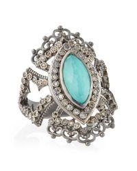 Armenta Blue New World Scalloped Green Turquoise & Diamond Ring