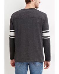 Forever 21 - Gray Striped-sleeve Tee for Men - Lyst