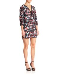 Parker - Black Mallory Printed Silk Dress - Lyst