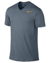 Nike Blue Cool Dri-Fit V-Neck Training T-Shirt for men