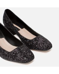 Zara | Black Mid Heel Glitter Shoes | Lyst