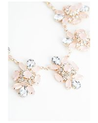 Missguided Pink Clodagh Floral Cluster Statement Necklace Gold