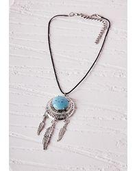 Missguided | Metallic Stone Detail Dreamcatcher Choker Silver | Lyst