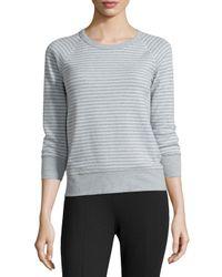 James Perse Blue Striped Raglan Sweatshirt