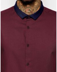ASOS - Purple Shirt With Long Sleeve And Contrast Collar for Men - Lyst