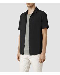 AllSaints - Black Poitiers Short Sleeved Shirt for Men - Lyst