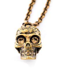Alexander McQueen | Metallic Poppy Skull Necklace | Lyst