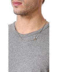 Giles & Brother - Metallic Embedded Safety Pin Necklace for Men - Lyst