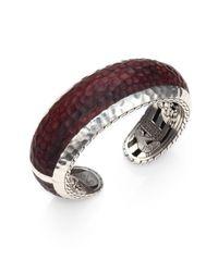 John Hardy Red Palu Sterling Silver Rosewood Cuff Bracelet
