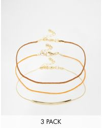 ASOS | Metallic Pack Of 3 70's Cord Anklets | Lyst