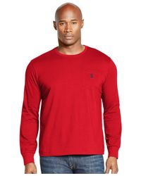 Polo Ralph Lauren | Red Big And Tall Long-sleeved Jersey Pocket Crewneck for Men | Lyst