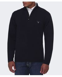 Gant - Blue Lambswool Zip Jumper for Men - Lyst