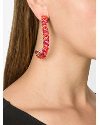Gemma Redux | Red Chain Hoop Earrings | Lyst