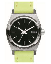 Nixon - Metallic 'small Time Teller' Leather Strap Watch - Lyst