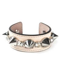 Alexander McQueen | Metallic Spiked Leather Cuff Bracelet | Lyst