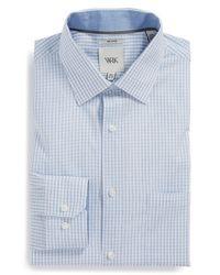 W.r.k. - Blue Extra Trim Fit Melange Check Dress Shirt for Men - Lyst