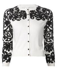 Oscar de la Renta - White Embroidered Cardigan - Lyst