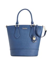 Calvin Klein | Blue Modena Saffiano Bucket Bag | Lyst
