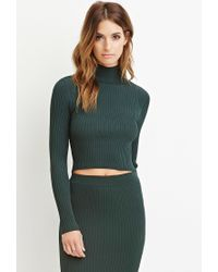 Forever 21 - Green Contemporary Mock Neck Ribbed Top - Lyst