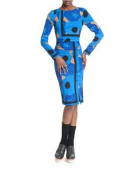 Tracy Reese | Blue Printed Stretch-silk Dress | Lyst
