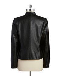 Tahari | Black Faux Leather Jacket | Lyst